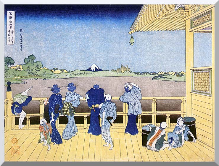 Katsushika Hokusai People on the Balcony of the Gohyaku Rakan Temple stretched canvas art print