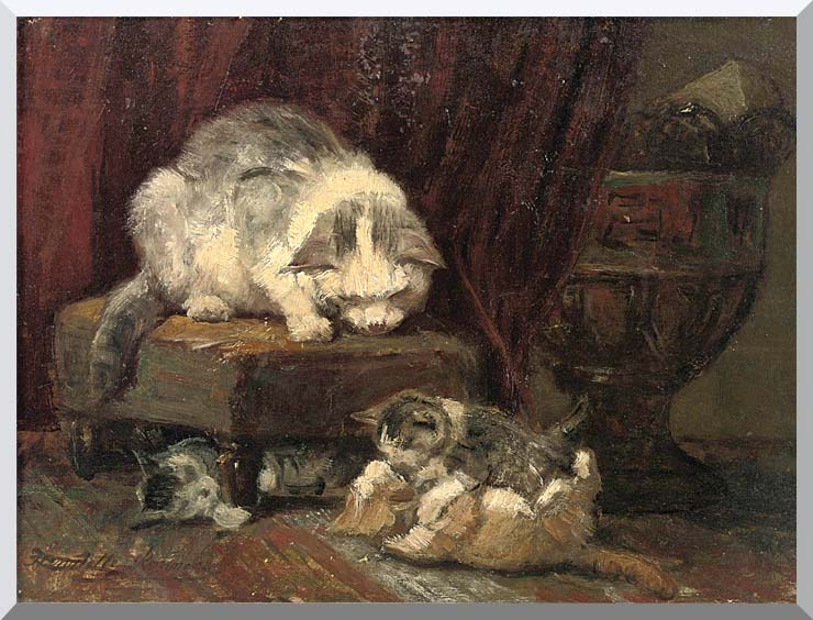 Henriette Ronner Knip A Mother Cat Watching Her Kittens Play stretched canvas art print