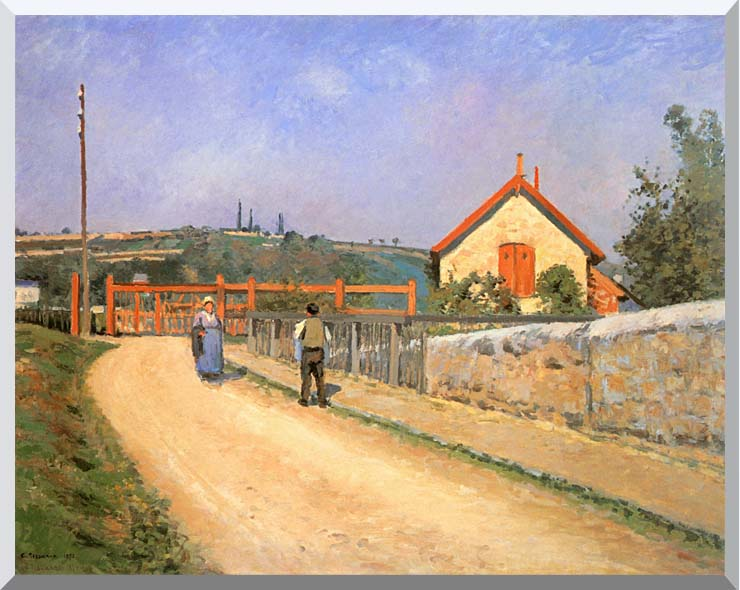 Camille Pissarro Railway Crossing at Patis, near Pontoise stretched canvas art print
