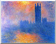 Claude Monet Houses Of Parliament London Sun Breaking Through The Fog stretched canvas art