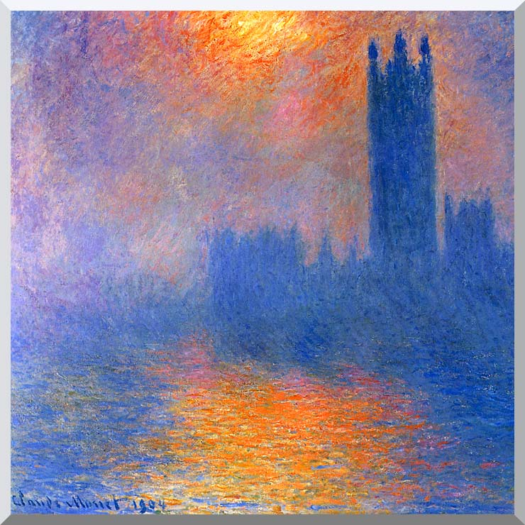 Claude Monet Houses of Parliament, Sun Shining Through a Gap in the Fog stretched canvas art print