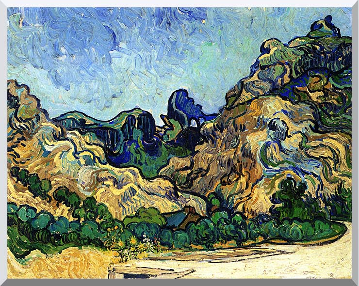 Vincent van Gogh Mountains at Saint Remy stretched canvas art print