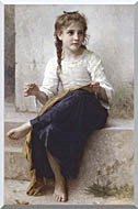 William Bouguereau Young Seamstress Sewing stretched canvas art