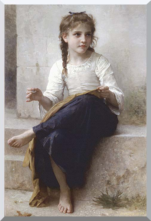 William Bouguereau Young Seamstress Sewing stretched canvas art print