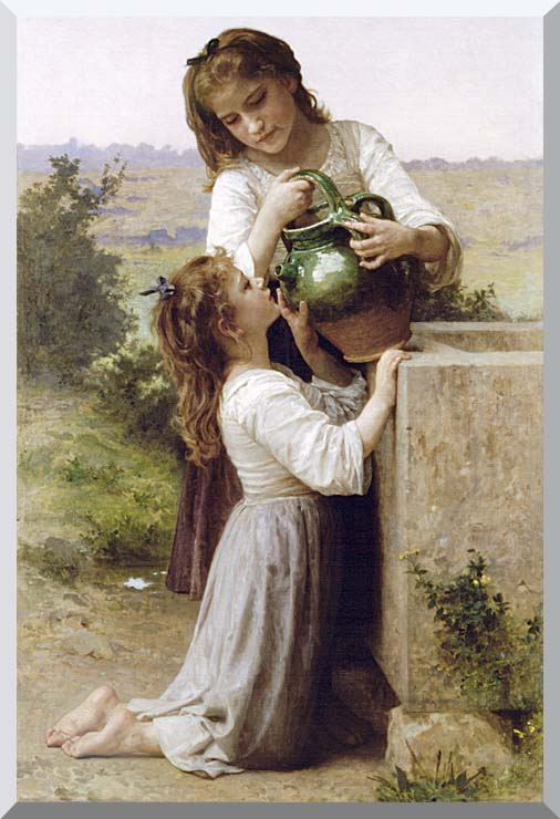 William Bouguereau Girls At the Fountain stretched canvas art print