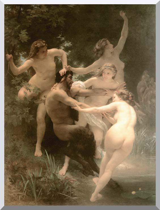William Bouguereau Nymphs and Satyr stretched canvas art print