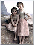 William Bouguereau On The Rocky Beach stretched canvas art