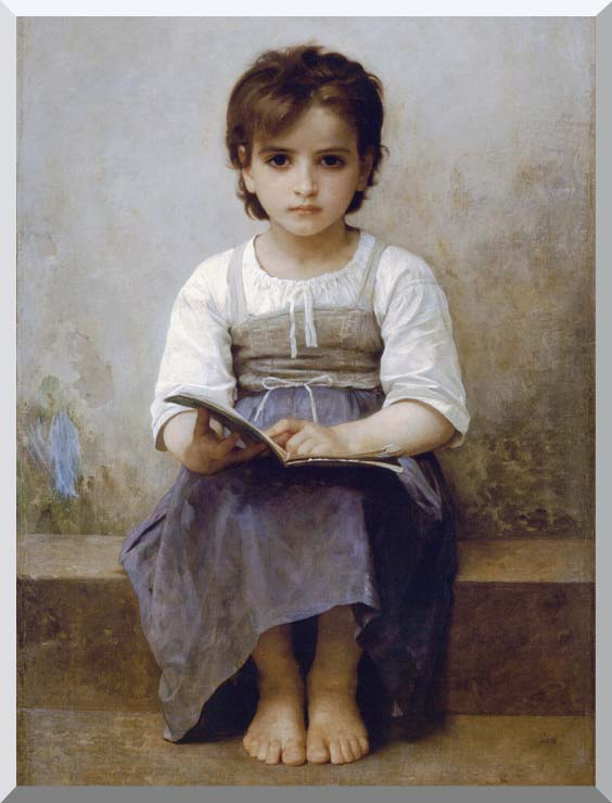 William Bouguereau The Difficult Lesson stretched canvas art print