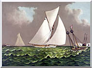 Currier And Ives Sailboats Nearing The Finish Line stretched canvas art
