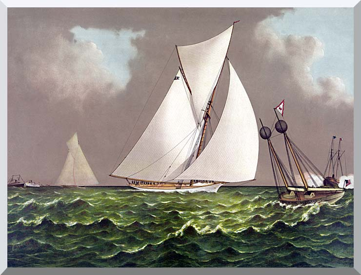 Currier and Ives Sailboats Nearing the Finish Line stretched canvas art print