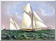 Currier And Ives Mayflower Saluted By The Fleet stretched canvas art