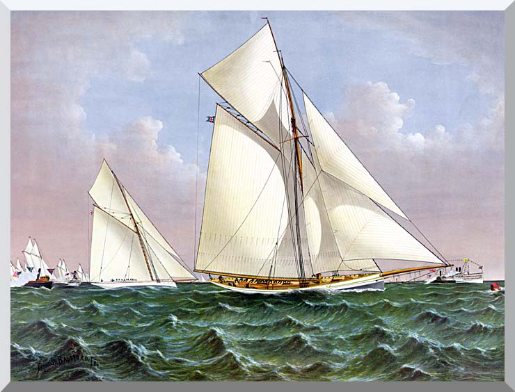 Currier and Ives Mayflower Saluted by the Fleet stretched canvas art print