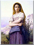 William Bouguereau The Knitter stretched canvas art