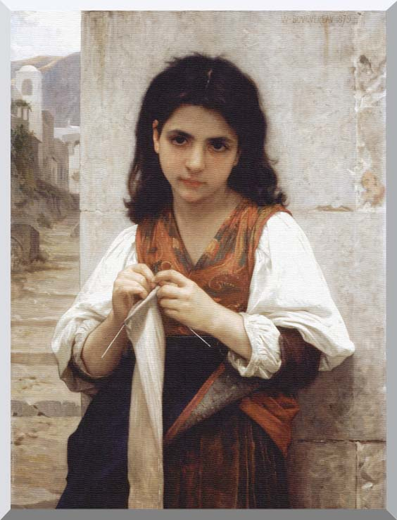 William Bouguereau Young Girl Knitting stretched canvas art print