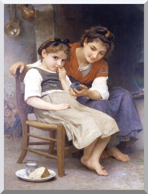 William Bouguereau The Little Sulk stretched canvas art print