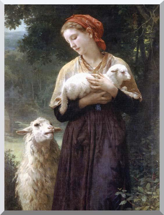 William Bouguereau The Shepardess stretched canvas art print