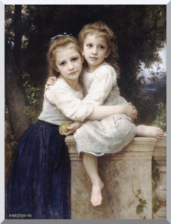 William Bouguereau Two Sisters stretched canvas art print