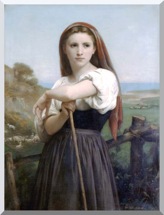 William Bouguereau Young Shepherdess stretched canvas art print