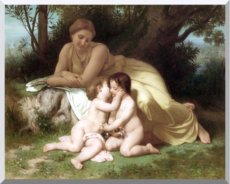 William Bouguereau Young Woman and Children Embracing stretched canvas art print