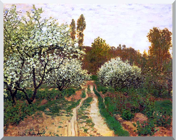 Claude Monet Flowering Apple Trees stretched canvas art print