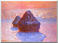 Claude Monet Haystacks Snow Effect stretched canvas art