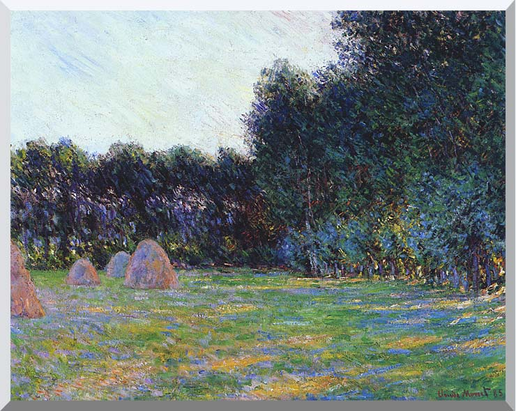Claude Monet Meadow with Haystacks near Giverny stretched canvas art print