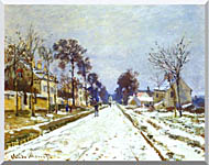 Claude Monet Road At Louveciennes Snow Effect stretched canvas art