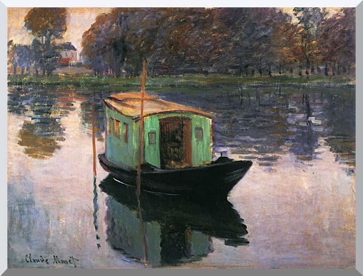 Claude Monet The Studio Boat stretched canvas art print