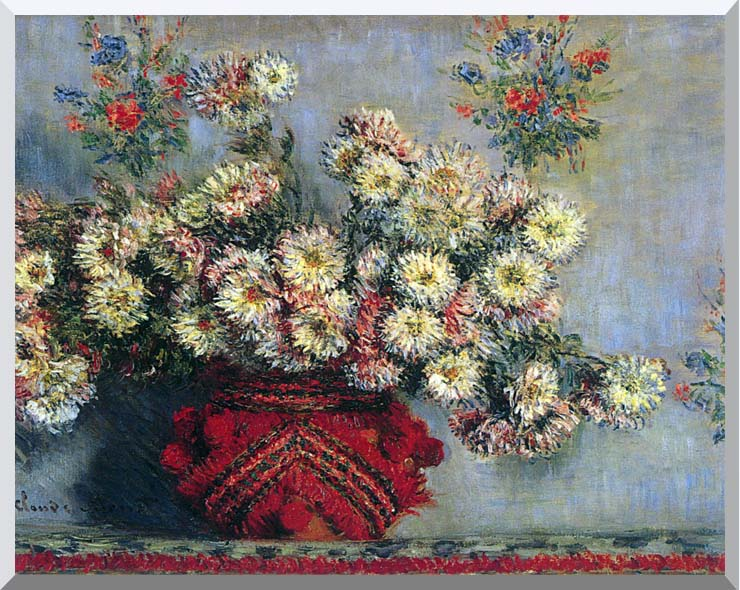 Claude Monet Vase with Chrysanthemums stretched canvas art print