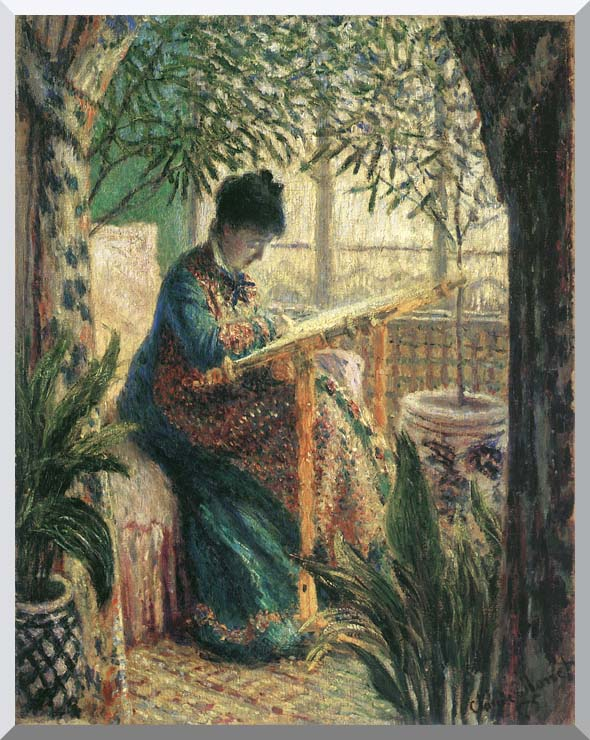 Monet Madame Monet Embroidering Canvas Giclee 8 x 10 inch Print