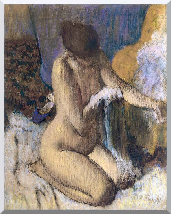 Edgar Degas After the Bath, Kneeling Woman Drying Her Left Elbow stretched canvas art print