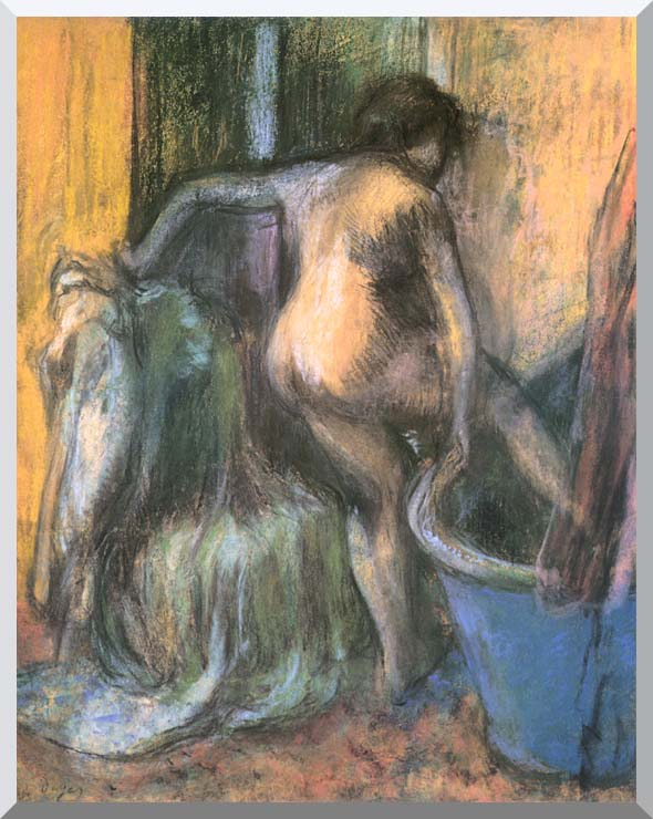 Edgar Degas Nude Stepping Out of the Bath stretched canvas art print