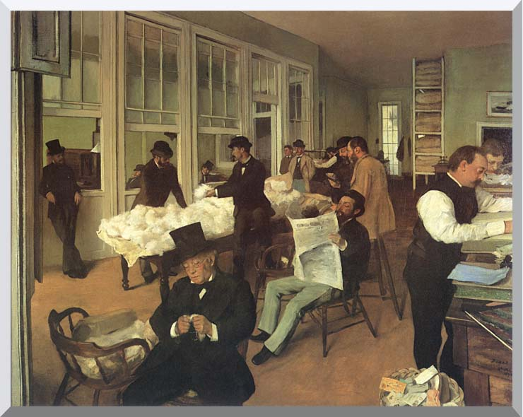 Edgar Degas Portraits in an  Office, New Orleans stretched canvas art print