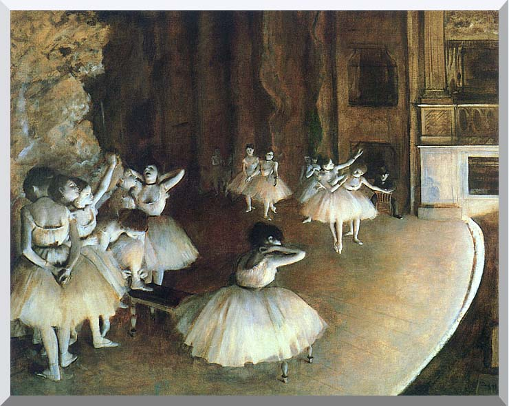 Edgar Degas Rehearsal of a Ballet on Stage stretched canvas art print