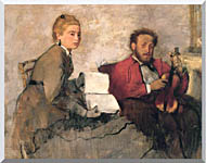 Edgar Degas Violinist And Young Woman Holding The Music stretched canvas art