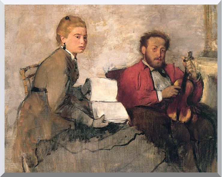Edgar Degas Violinist and Young Woman Holding the Music stretched canvas art print