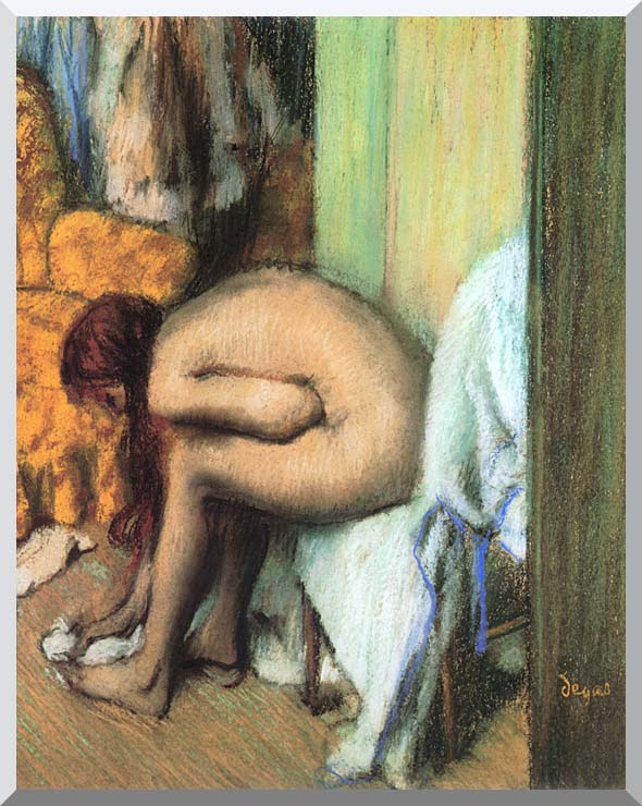 Edgar Degas After the Bath, Woman Drying Her Feet stretched canvas art print