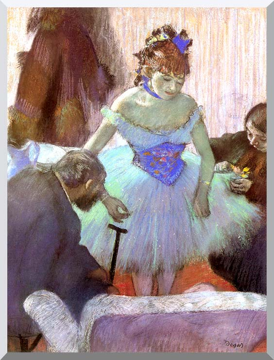 Edgar Degas Before the Entrance on Stage stretched canvas art print