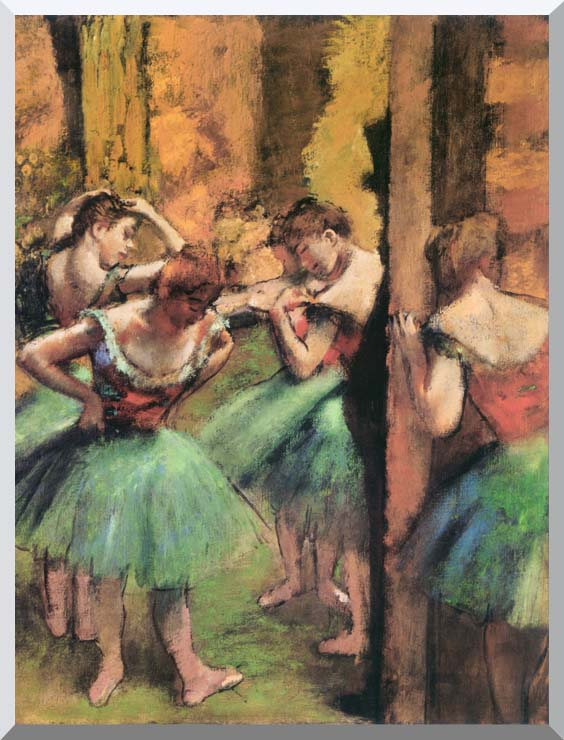 Edgar Degas Dancers in Pink and Green stretched canvas art print