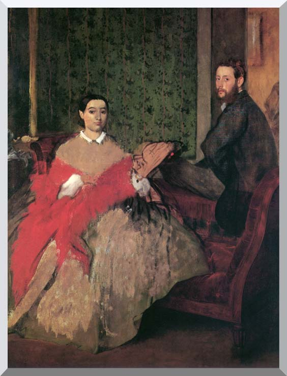 Edgar Degas Edmondo and Therese Morbilli stretched canvas art print