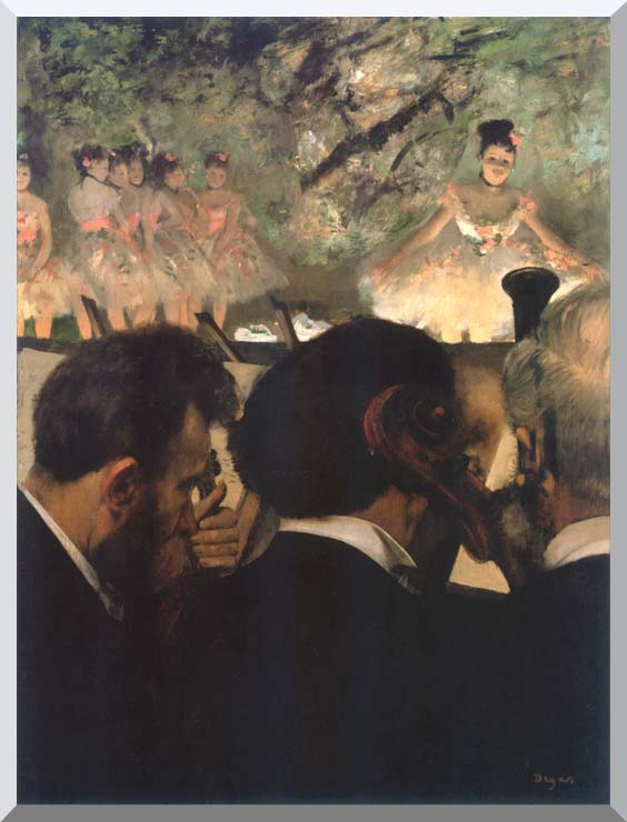 Edgar Degas Musicians in the Orchestra stretched canvas art print