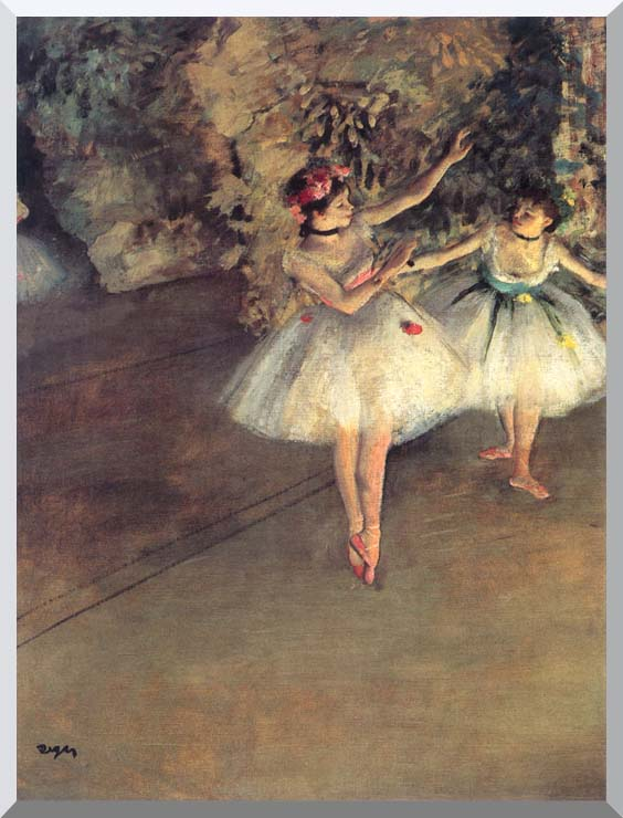 Edgar Degas Two Dancers on the Stage stretched canvas art print