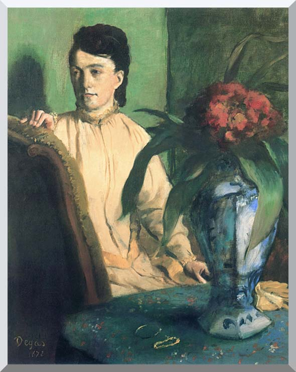 Edgar Degas Woman with Chinese Vase stretched canvas art print