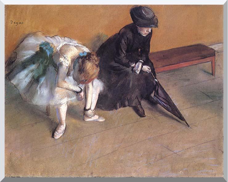 Edgar Degas Waiting stretched canvas art print