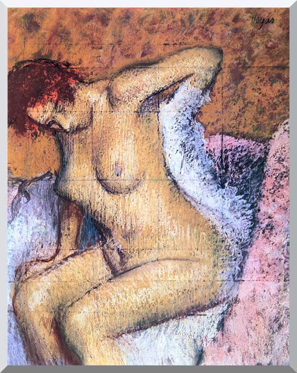 Edgar Degas Woman Sitting Drying Her Back stretched canvas art print
