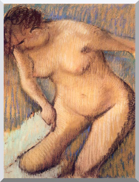 Edgar Degas Woman Drying Her Right Leg seen from the Front stretched canvas art print