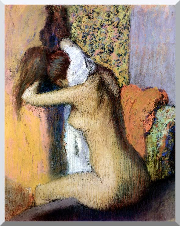 Edgar Degas After the Bath, Woman Drying Her Neck stretched canvas art print