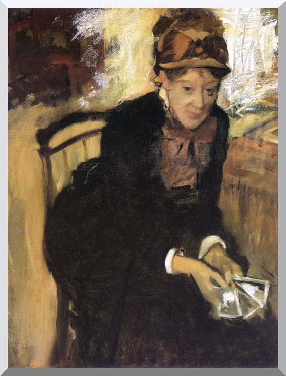 Edgar Degas Miss Cassatt Holding Cards stretched canvas art print