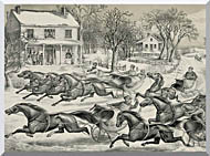 Currier And Ives A Brush For The Lead   New York Flyers On The Snow stretched canvas art