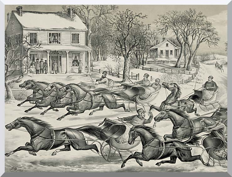 Currier and Ives A Brush for the Lead - New York Flyers on the Snow stretched canvas art print
